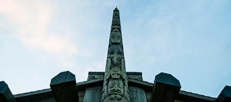 Bill Reid pole at the Haida language centre